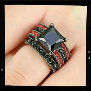 Princess Cut  Black CZ with Red Accents Ring 6